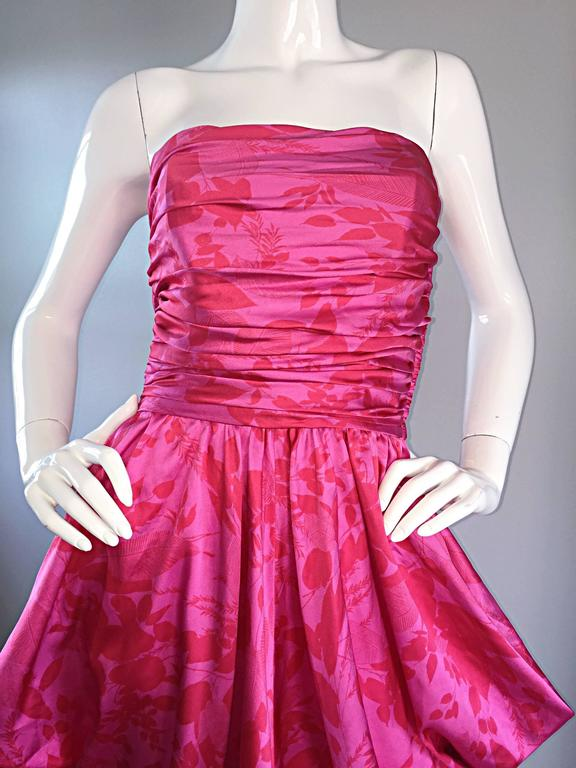 Vintage Victor Costa Hot Pink + Red Avant Garde Strapless Ruched Dress 9