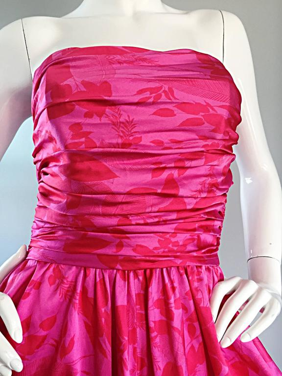Vintage Victor Costa Hot Pink + Red Avant Garde Strapless Ruched Dress 8