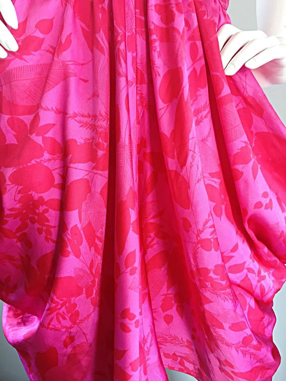 Vintage Victor Costa Hot Pink + Red Avant Garde Strapless Ruched Dress 10