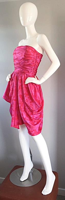 Vintage Victor Costa Hot Pink + Red Avant Garde Strapless Ruched Dress 3