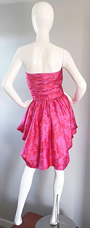 Vintage Victor Costa Hot Pink + Red Avant Garde Strapless Ruched Dress 2