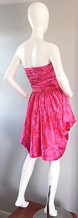 Vintage Victor Costa Hot Pink + Red Avant Garde Strapless Ruched Dress 5