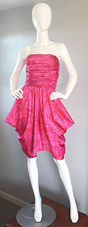 Vintage Victor Costa Hot Pink + Red Avant Garde Strapless Ruched Dress 6