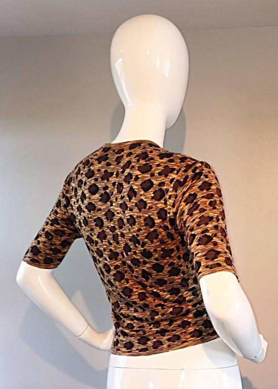 "Brown Vintage Yves Saint Laurent "" Rive Gauche "" Leopard Print 3/4 Sleeve Cardigan YSL For Sale"