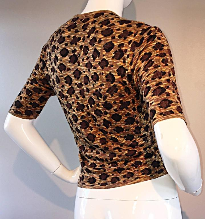 """Vintage Yves Saint Laurent """" Rive Gauche """" Leopard Print 3/4 Sleeve Cardigan YSL In Excellent Condition For Sale In San Francisco, CA"""