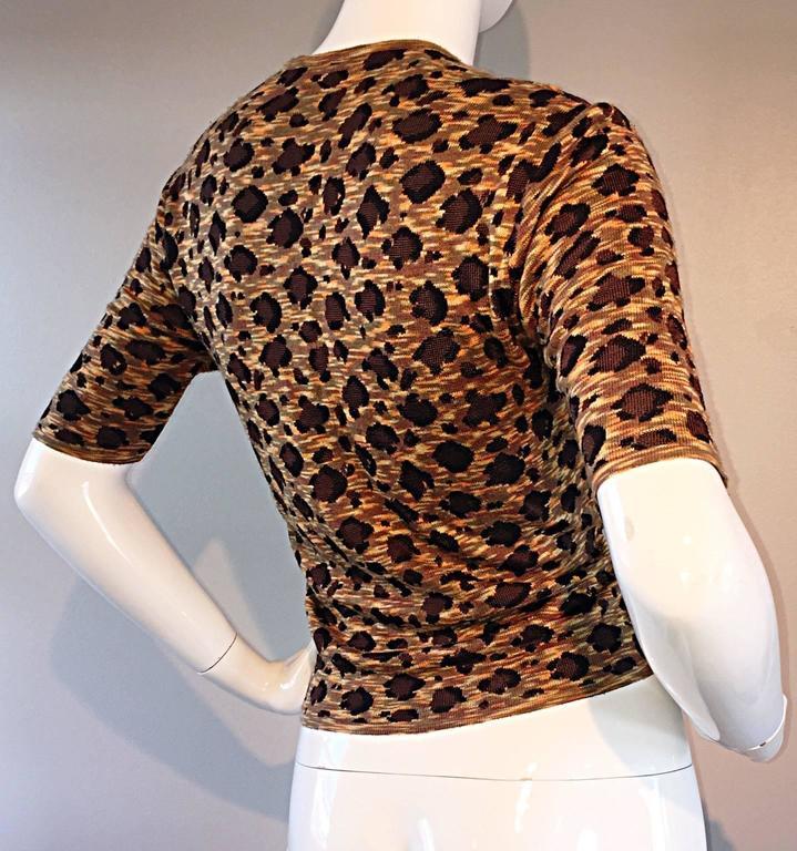"Vintage Yves Saint Laurent "" Rive Gauche "" Leopard Print 3/4 Sleeve Cardigan YSL 4"