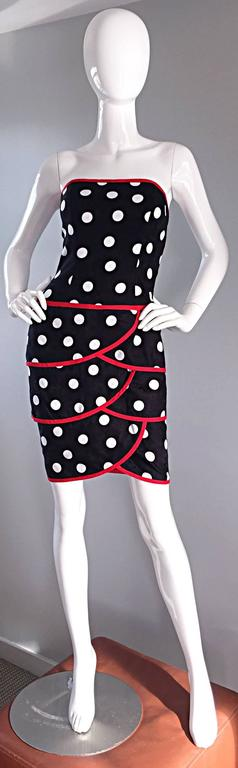 Vintage A.J. Bari for Neiman Marcus Black and White Polka Dot Dress w/ Red Trim In Excellent Condition For Sale In Chicago, IL