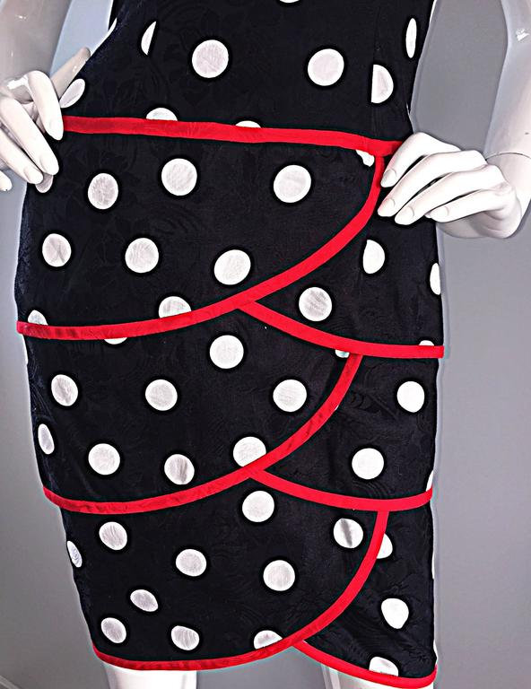 Vintage A.J. Bari for Neiman Marcus Black and White Polka Dot Dress w/ Red Trim For Sale 3