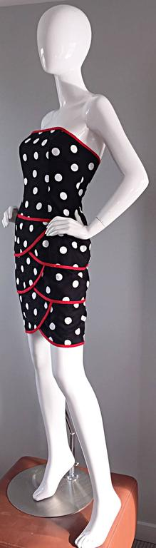 Vintage A.J. Bari for Neiman Marcus Black and White Polka Dot Dress w/ Red Trim For Sale 4