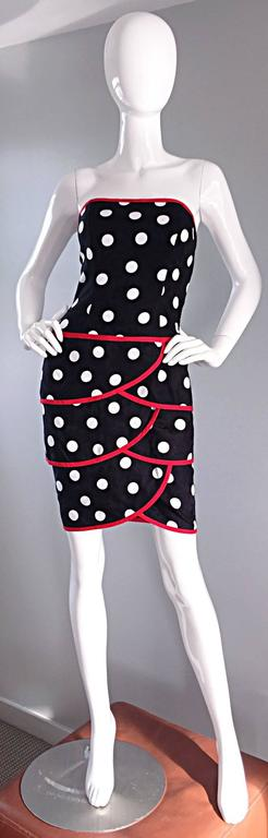 Women's Vintage A.J. Bari for Neiman Marcus Black and White Polka Dot Dress w/ Red Trim For Sale