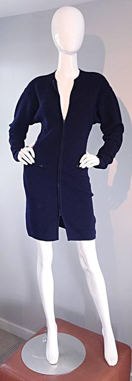 Vintage Claude Montana Navy Blue ' Scuba ' Cardigan / Sweater Dress  4