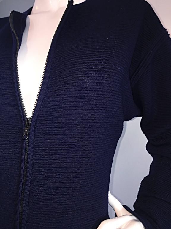 Vintage Claude Montana Navy Blue ' Scuba ' Cardigan / Sweater Dress  8