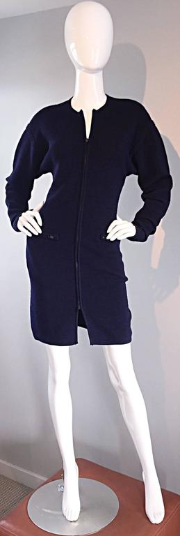 Vintage Claude Montana Navy Blue ' Scuba ' Cardigan / Sweater Dress  5