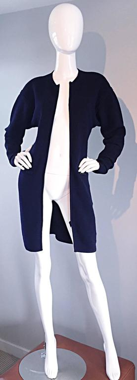 Vintage Claude Montana Navy Blue ' Scuba ' Cardigan / Sweater Dress  9