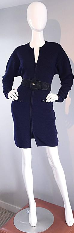 Vintage Claude Montana Navy Blue ' Scuba ' Cardigan / Sweater Dress  10