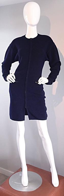 Vintage Claude Montana Navy Blue ' Scuba ' Cardigan / Sweater Dress  2
