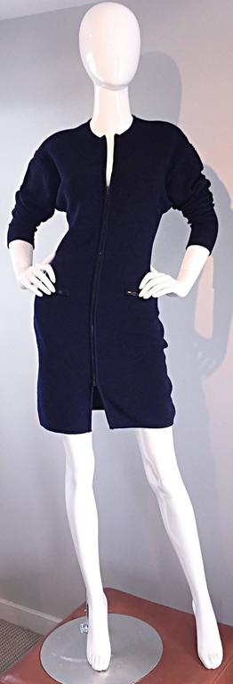 Vintage Claude Montana Navy Blue ' Scuba ' Cardigan / Sweater Dress  3