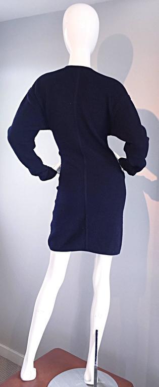 Vintage Claude Montana Navy Blue ' Scuba ' Cardigan / Sweater Dress  6