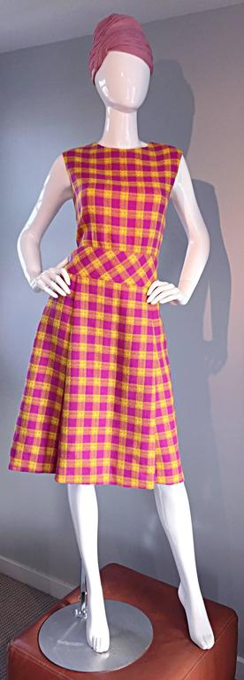 1960s Bill Blass for Maurice Retner Pink + Yellow Plaid A - Line Dress & Jacket For Sale 2