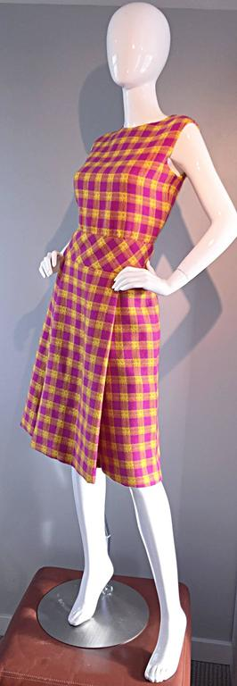 1960s Bill Blass for Maurice Retner Pink + Yellow Plaid A - Line Dress & Jacket For Sale 1