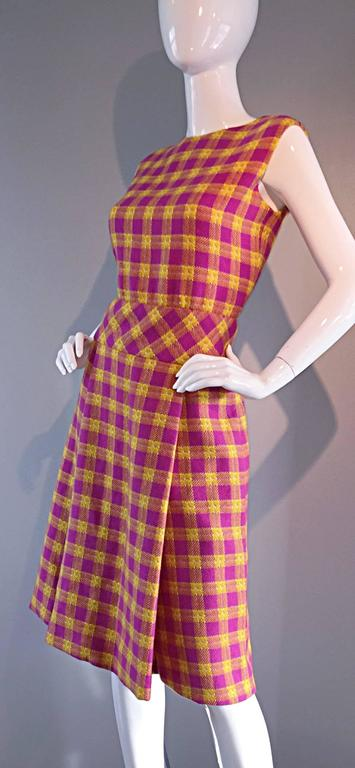 1960s Bill Blass for Maurice Retner Pink + Yellow Plaid A - Line Dress & Jacket In New never worn Condition For Sale In San Francisco, CA