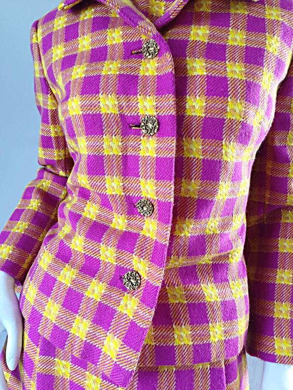 1960s Bill Blass for Maurice Retner Pink + Yellow Plaid A - Line Dress & Jacket For Sale 5