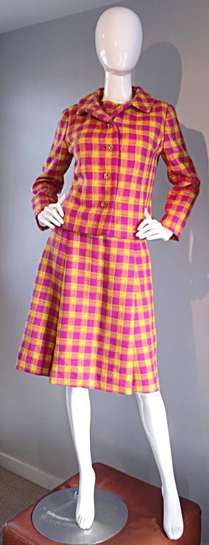 Brand new chic 60s vintage Bill Blass for Maurice Retner fuchsia and yellow plaid A-Line dress, AND matching jacket. BRAND NEW, with original SAKs 5th Ave. tags still attached. Dress is so flattering, and looks amazing on! Impeccable construction,