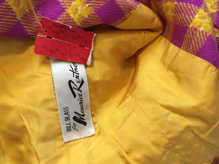 1960s Bill Blass for Maurice Retner Pink + Yellow Plaid A - Line Dress & Jacket For Sale 6
