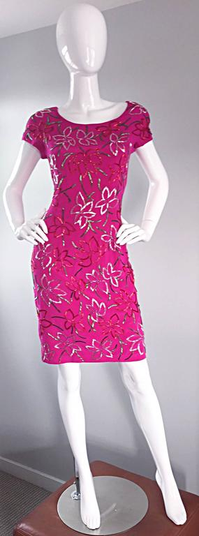 Red Wonderful Carmen Marc Valvo Early 90s Hot Pink Fuchsia Beaded Vintage Silk Dress For Sale