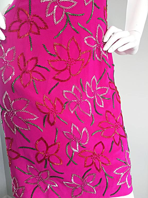 Women's Wonderful Carmen Marc Valvo Early 90s Hot Pink Fuchsia Beaded Vintage Silk Dress For Sale