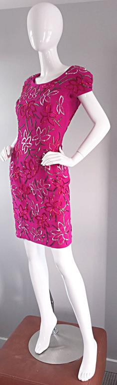 Wonderful Carmen Marc Valvo Early 90s Hot Pink Fuchsia Beaded Vintage Silk Dress For Sale 4