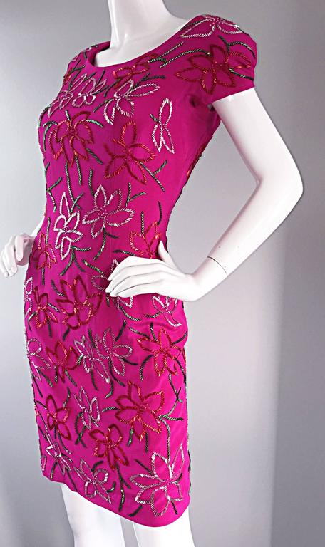Wonderful Carmen Marc Valvo Early 90s Hot Pink Fuchsia Beaded Vintage Silk Dress For Sale 1