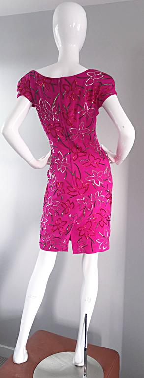 Wonderful Carmen Marc Valvo Early 90s Hot Pink Fuchsia Beaded Vintage Silk Dress For Sale 5