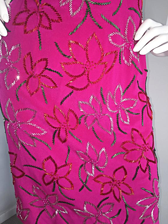 Wonderful Carmen Marc Valvo Early 90s Hot Pink Fuchsia Beaded Vintage Silk Dress For Sale 2