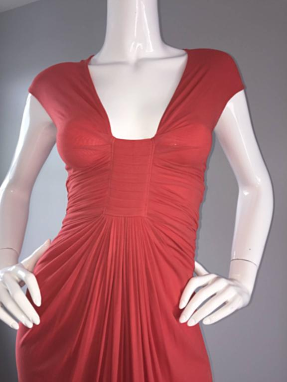 Red Donna Karan Collection Coral Pink Vintage 1990s Ruched Grecian Cocktail Dress  For Sale