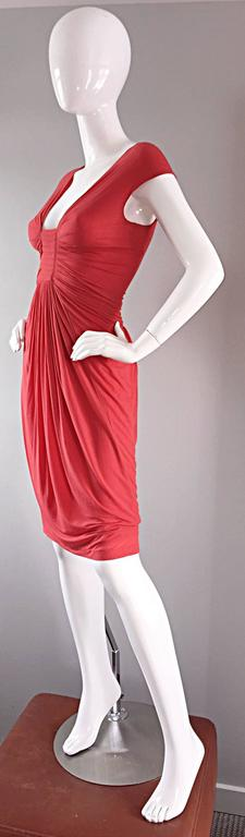 Donna Karan Collection Coral Pink Vintage 1990s Ruched Grecian Cocktail Dress  For Sale 5