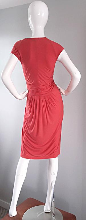 Donna Karan Collection Coral Pink Vintage 1990s Ruched Grecian Cocktail Dress  For Sale 3
