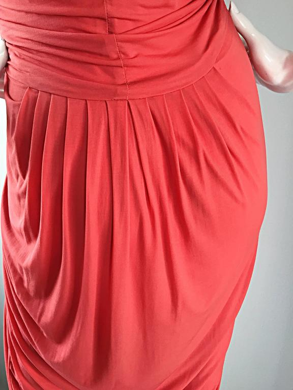 Donna Karan Collection Coral Pink Vintage 1990s Ruched Grecian Cocktail Dress  For Sale 2
