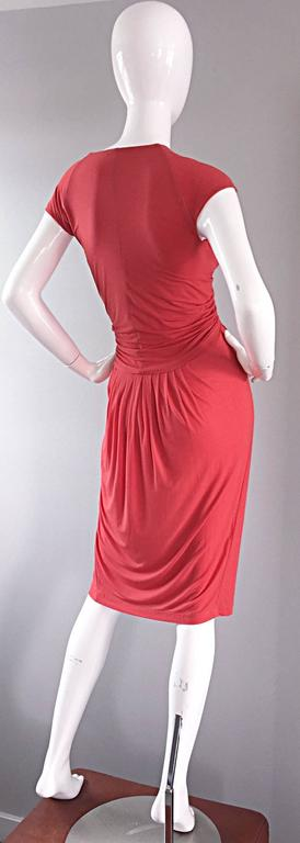 Donna Karan Collection Coral Pink Vintage 1990s Ruched Grecian Cocktail Dress  For Sale 1