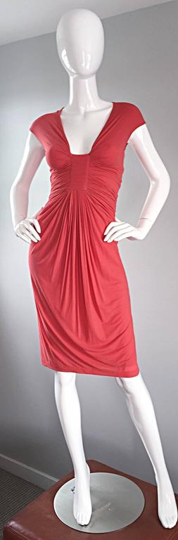 Donna Karan Collection Coral Pink Vintage 1990s Ruched Grecian Cocktail Dress  In Excellent Condition For Sale In Chicago, IL