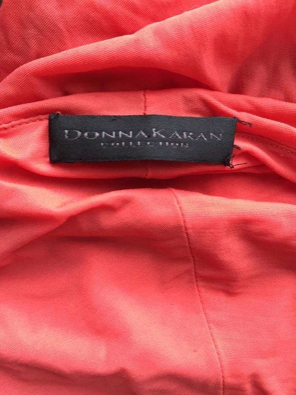 Donna Karan Collection Coral Pink Vintage 1990s Ruched Grecian Cocktail Dress  For Sale 4