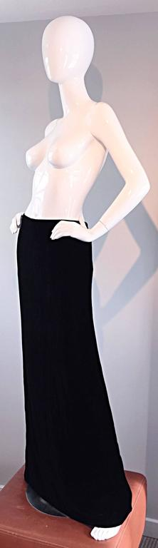 Tom Ford for Gucci Black Silk Velvet 1990s 90s Vintage Full Length Maxi Skirt For Sale 6