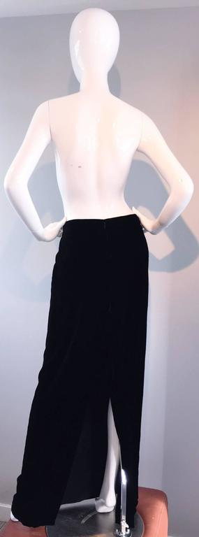 Tom Ford for Gucci Black Silk Velvet 1990s 90s Vintage Full Length Maxi Skirt For Sale 4