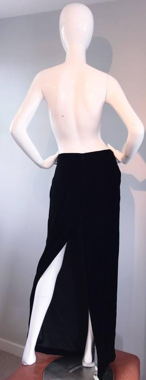 Women's Tom Ford for Gucci Black Silk Velvet 1990s 90s Vintage Full Length Maxi Skirt For Sale