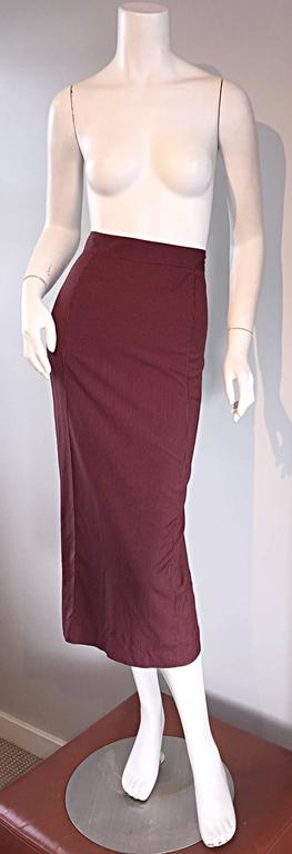 Brown Rare Vintage Jean Paul Gaultier Burgundy Pinstripe Sexy High Waist Pencil Skirt For Sale