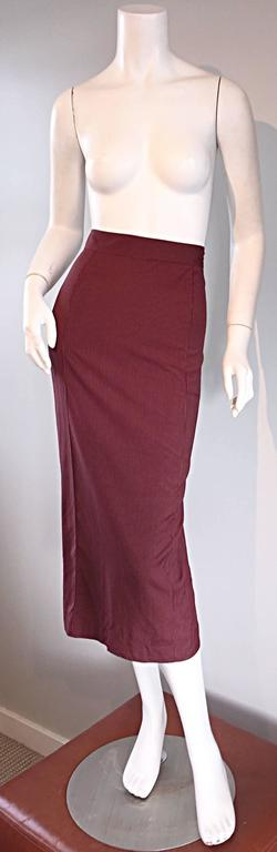 Rare Vintage Jean Paul Gaultier Burgundy Pinstripe Sexy High Waist Pencil Skirt In Excellent Condition For Sale In San Francisco, CA