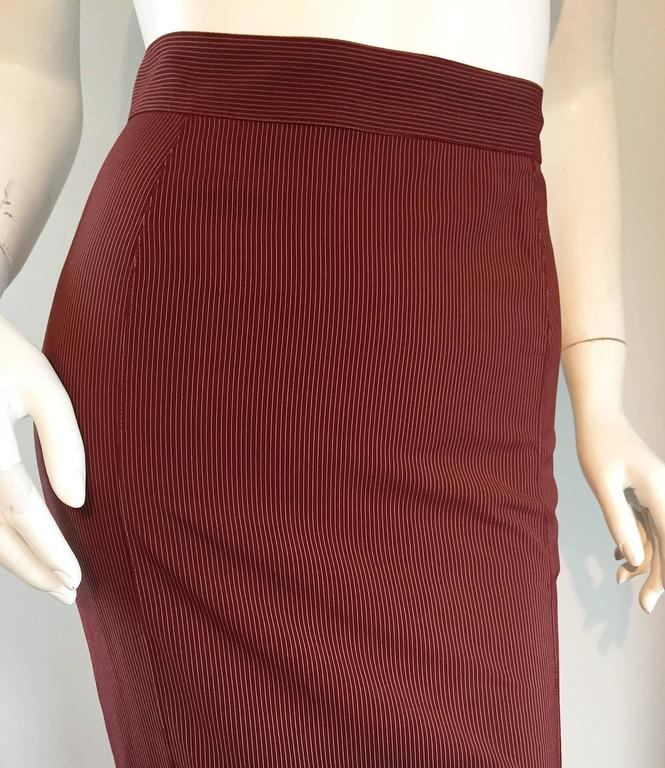 Rare Vintage Jean Paul Gaultier Burgundy Pinstripe Sexy High Waist Pencil Skirt 5