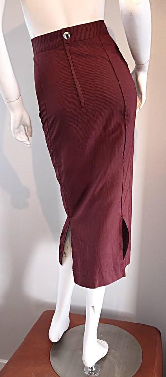 Rare Vintage Jean Paul Gaultier Burgundy Pinstripe Sexy High Waist Pencil Skirt 6
