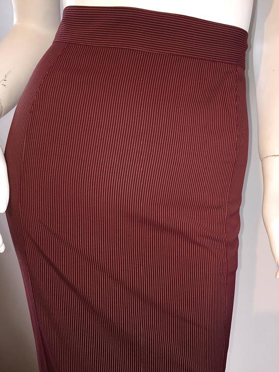 Rare Vintage Jean Paul Gaultier Burgundy Pinstripe Sexy High Waist Pencil Skirt 9