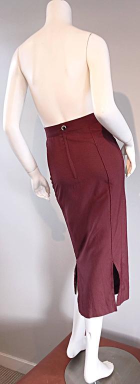 Rare Vintage Jean Paul Gaultier Burgundy Pinstripe Sexy High Waist Pencil Skirt 7